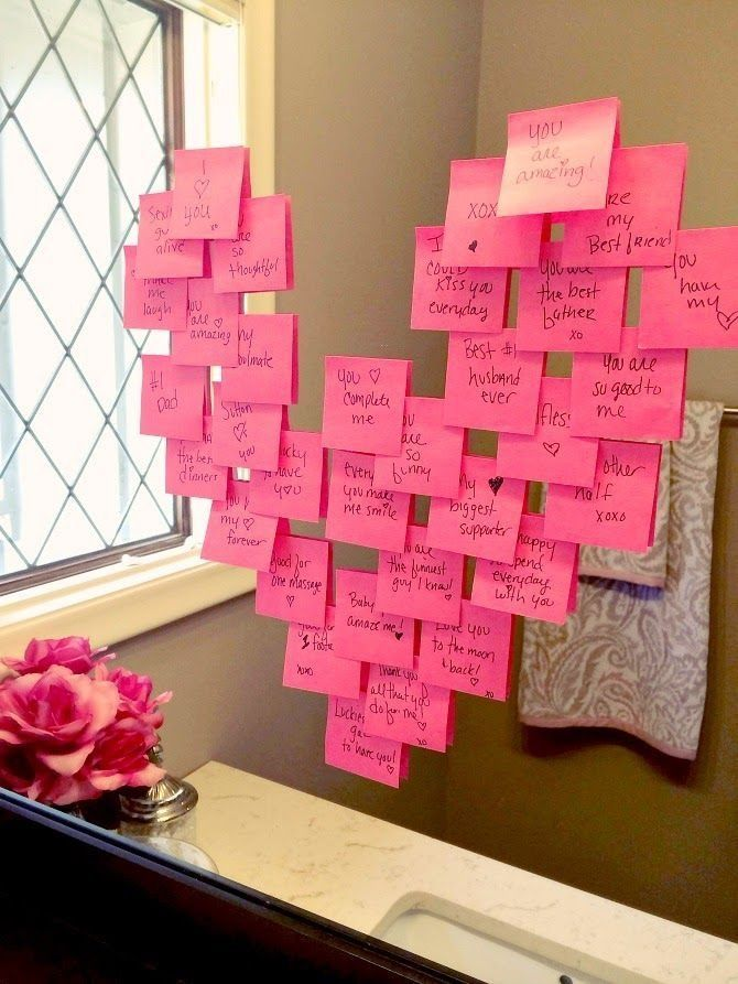 Heart notes on a mirror! Click through for 35 amazing, over-the-top Valentine&#3...