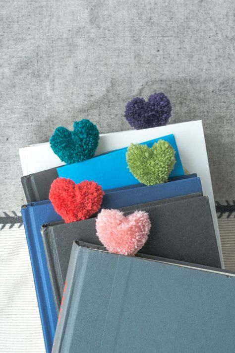 How to Make Heart Pom Pom Bookmarks. Easy! And a Perfect Valentine