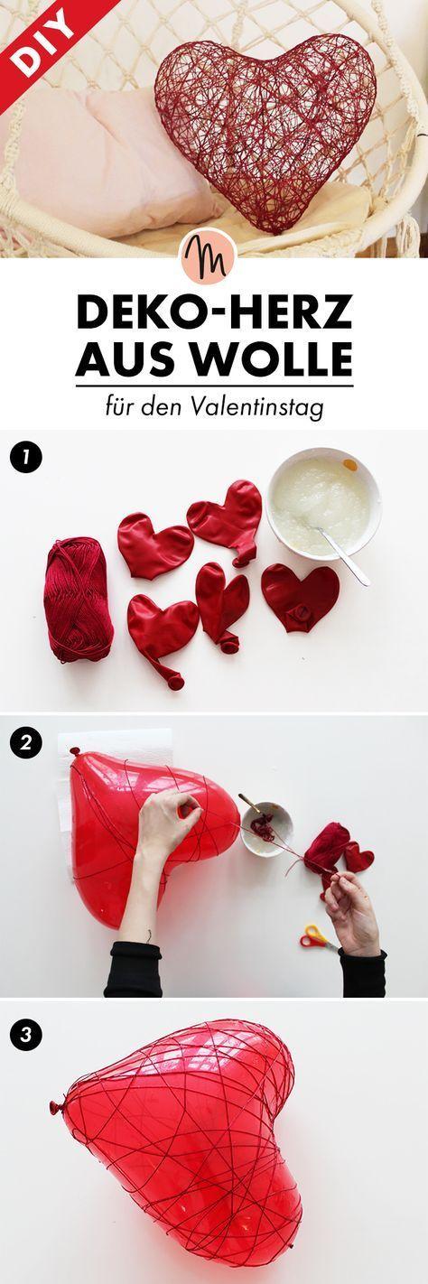 Mal eben schnell ein Deko-Herz aus Wolle selbermachen - DIY-Anleitung via Makeri...