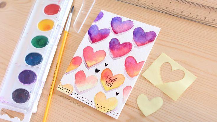 Romantische DIY Valentinstagskarten, DIY Bastelideen zum Valentinstag, Valentins...