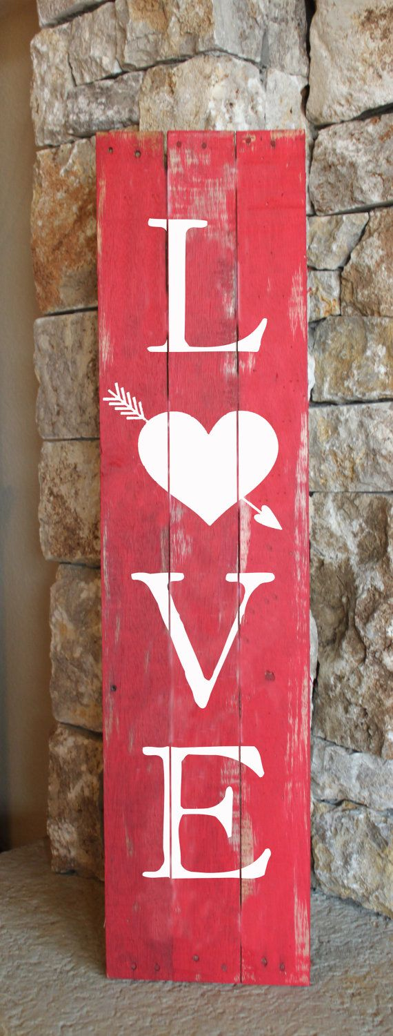 Rustic wooden LOVE sign handcrafted from reclaimed wood. It looks great propped ...