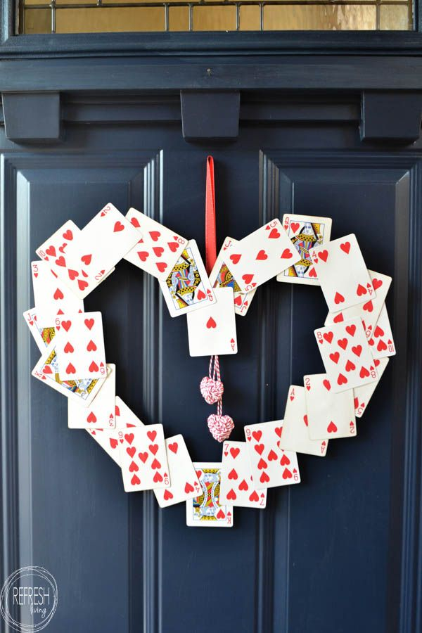This DIY Valentine's Day wreath couldn't be any easier (or cheaper) to m...