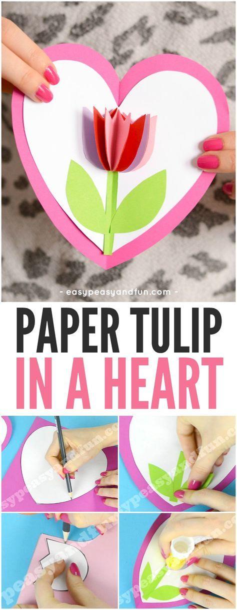 Tulip in a Heart Card Valentines Day Craft for Kids #valentinesdaycraftsforkids ...