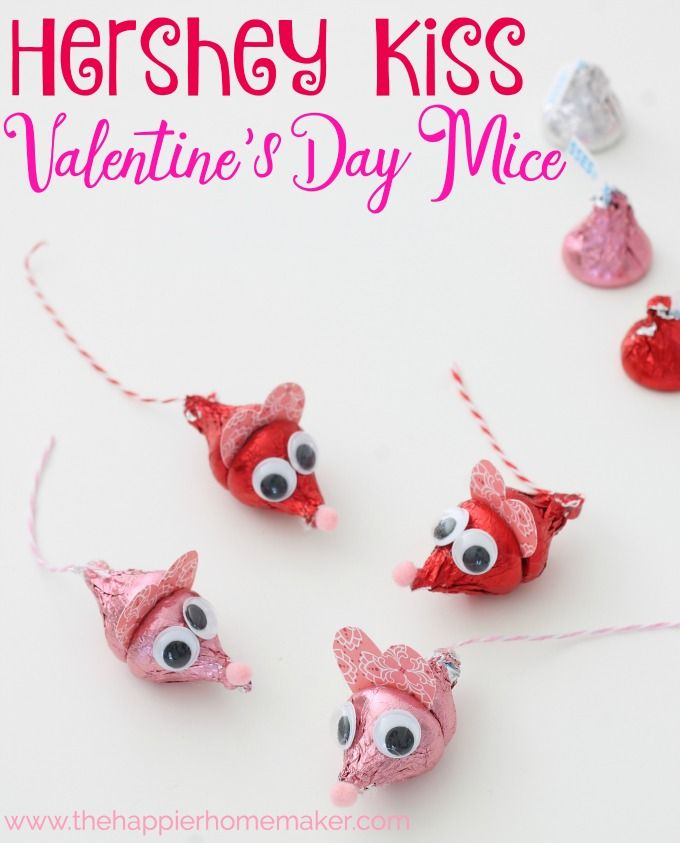Valentine's Day Hershey Kiss Mice This is such a cute DIY Valentine's Day ...
