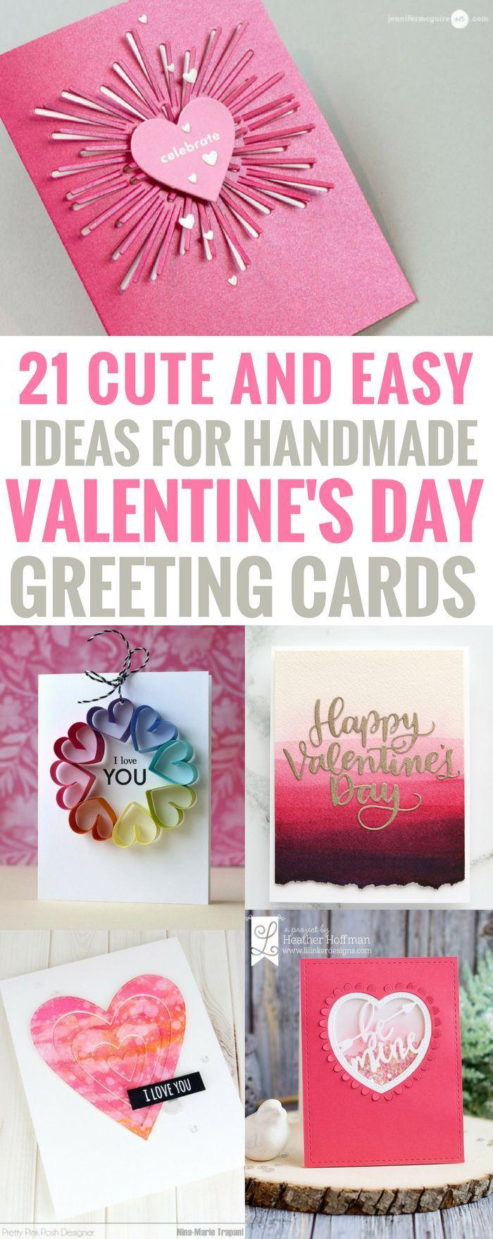 #Valentinesday #papercrafts #greetingcard DIY Valentines Day Cards - Easy Handma...