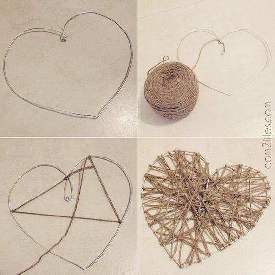 tuto coeur laine fil alu: