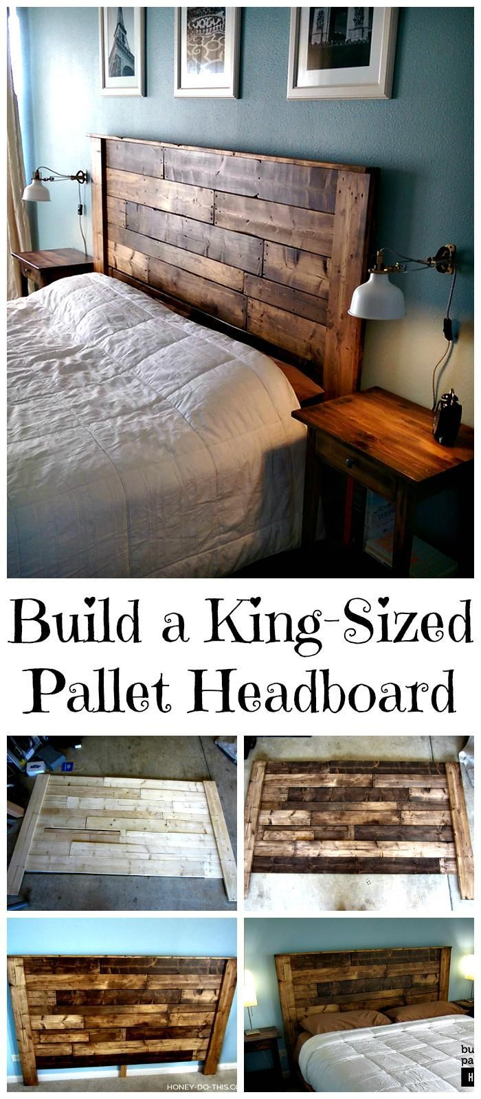 DIY King-Sized Pallet Headboard Tutorial - 150 Best DIY Pallet Projects and Pall...