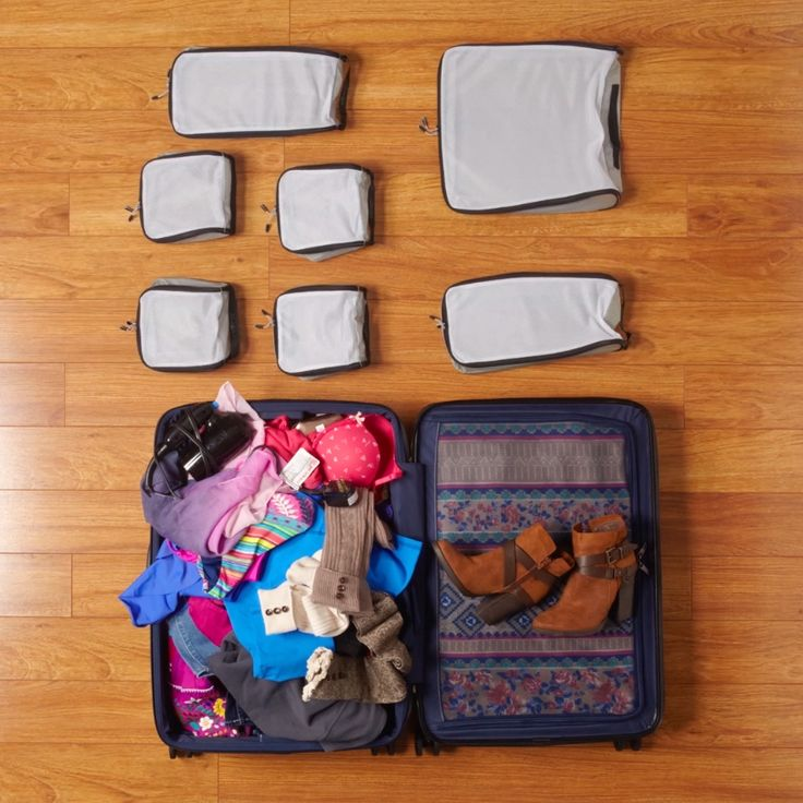 Organize your luggage with packing cubes designed to fit your bag