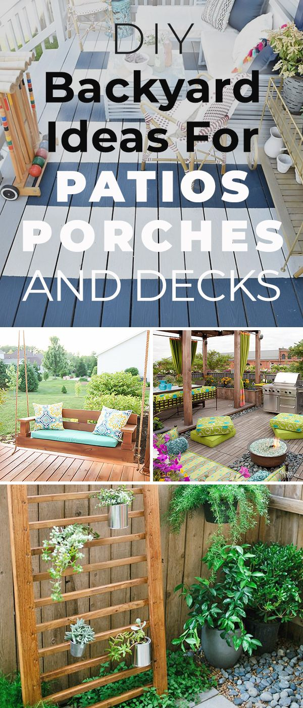 12 DIY Backyard Ideas for Patios, Porches and Decks! • Check out this post for...