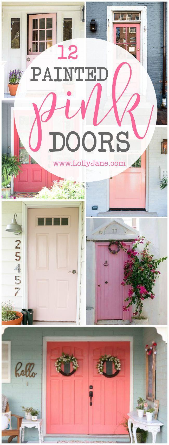 12 painted pink door ideas, sooo cute! LOVE this pink front doors, such fun ways...