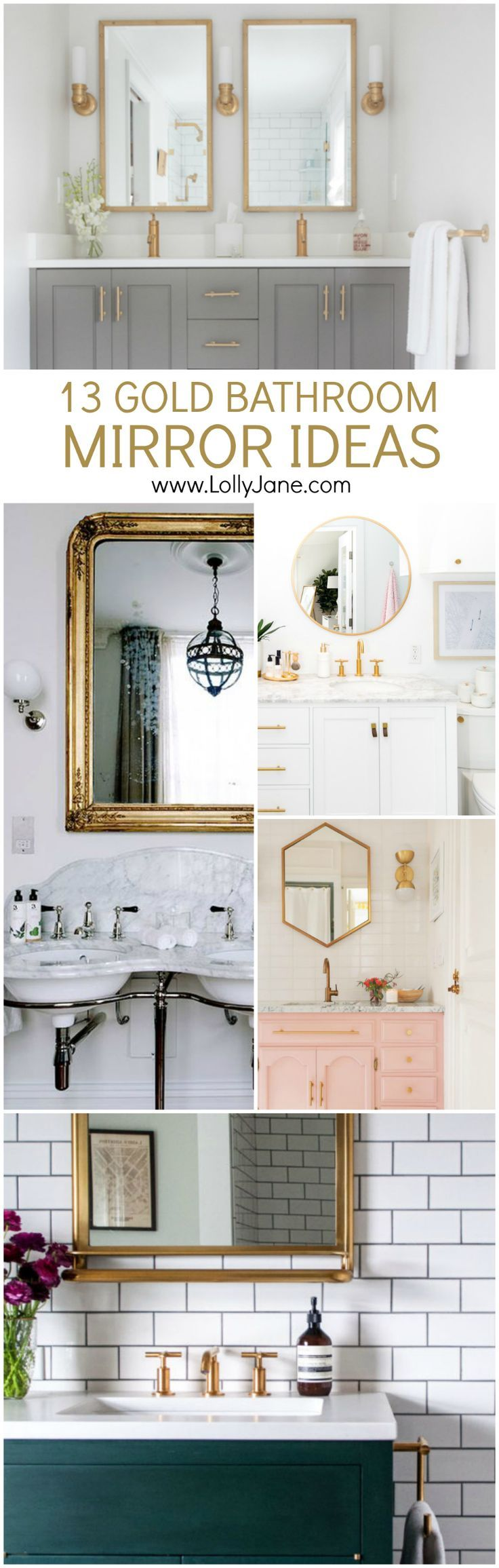 13 Gold Bathroom Mirror Ideas | Looking for a new bathroom mirror? We've got...