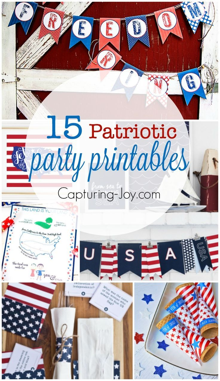 15 Patriotic Party Printables for your 4th of July Party or holiday decor! | Cap...