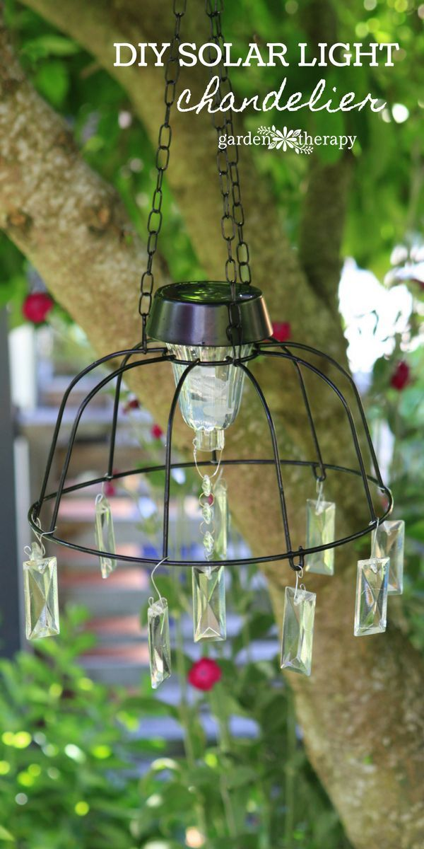 An upcycle  / recycle project that is fun and smart! This solar light chandelier...