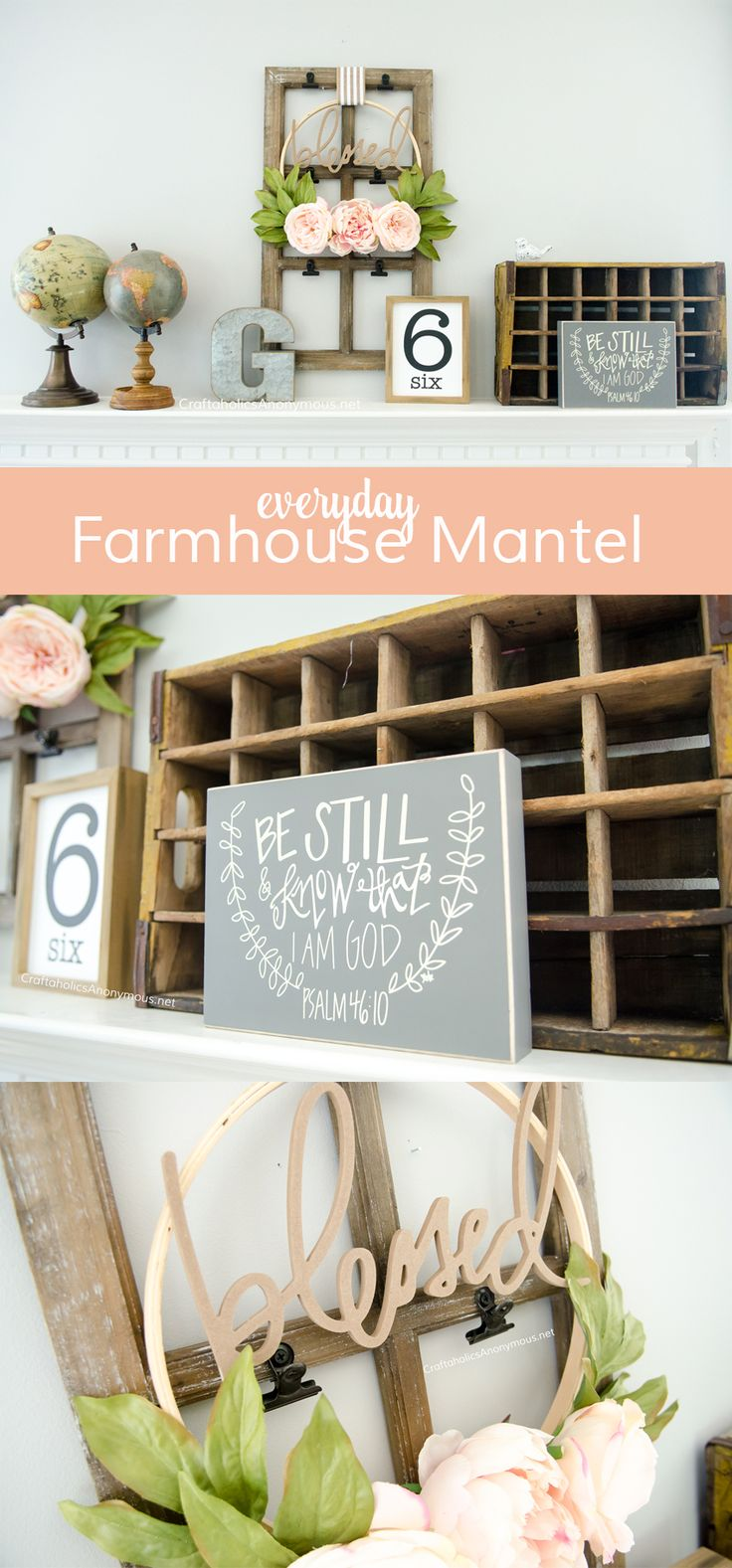 DIY Farmhouse mantel decor :: Perfect for every day home decor idea