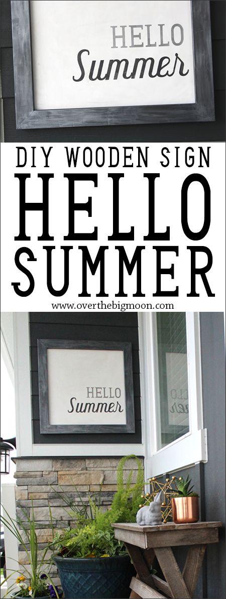 DIY Hello Summer Decorative Board - such an easy DIY using a vinyl stencil! From...