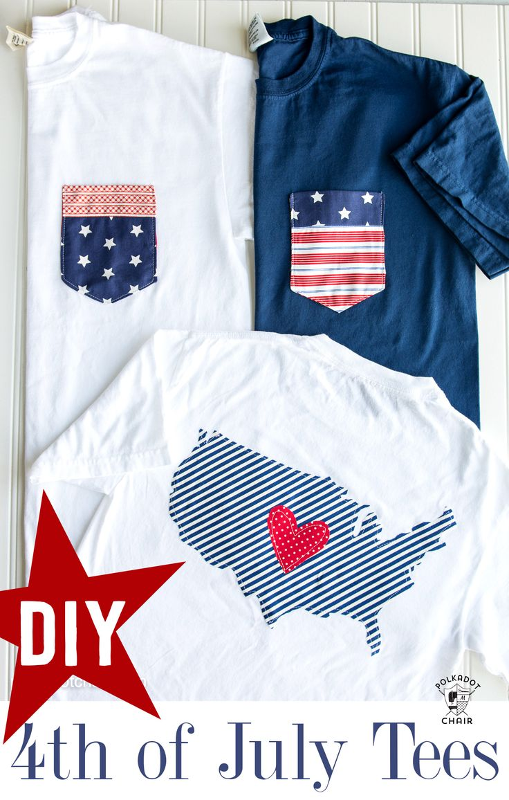 DIY Pocket Tee for the 4th of July - includes templates for the pocket and outli...