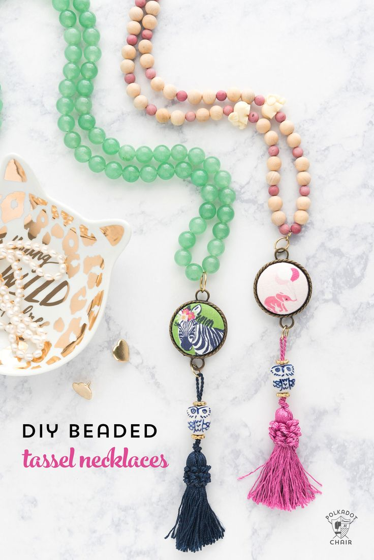 Fun and easy DIY Beaded Tassel necklace with covered button! Learn how to make a...