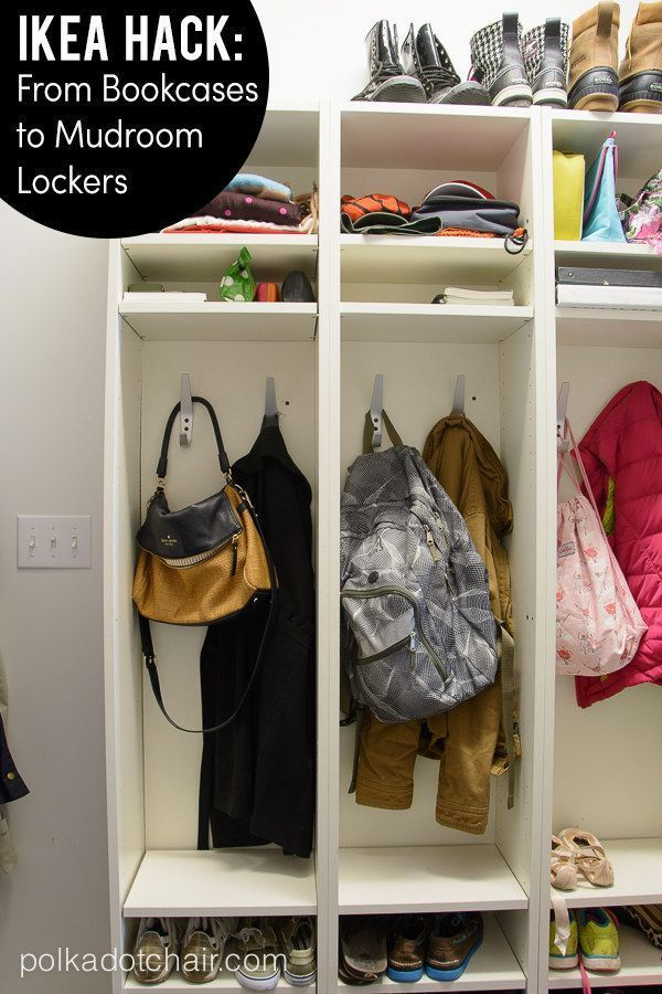 Great IKEA hack!  Turn Ikea Billy book cases as mud room lockers - so easy and c...