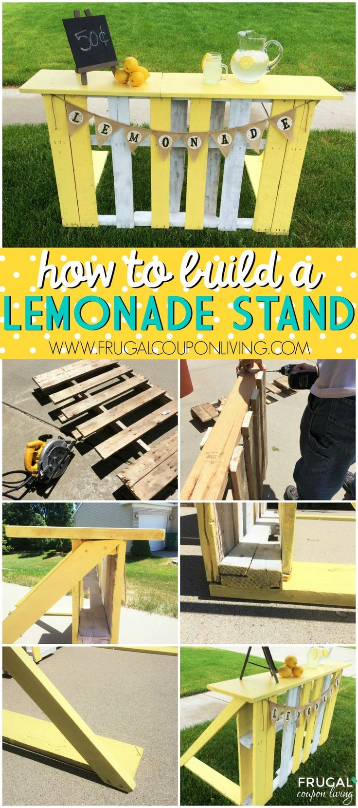 How to Build a Lemonade Stand with a Recycled Pallet on Frugal Coupon Living. Le...