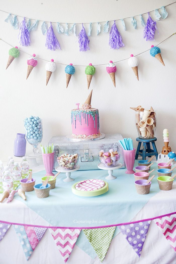 Ice Cream Themed Party decoration, food and game ideas on Capturing-Joy.com!