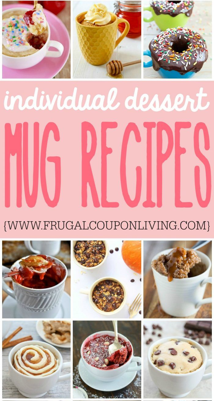 Individual Dessert Mug Recipes on Frugal Coupon Living. Quick and easy dessert r...