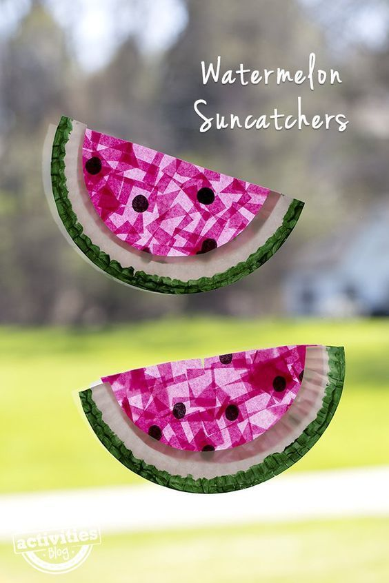 Paper Plate Watermelon Suncatchers - a fun craft for kids to do and beat their b...