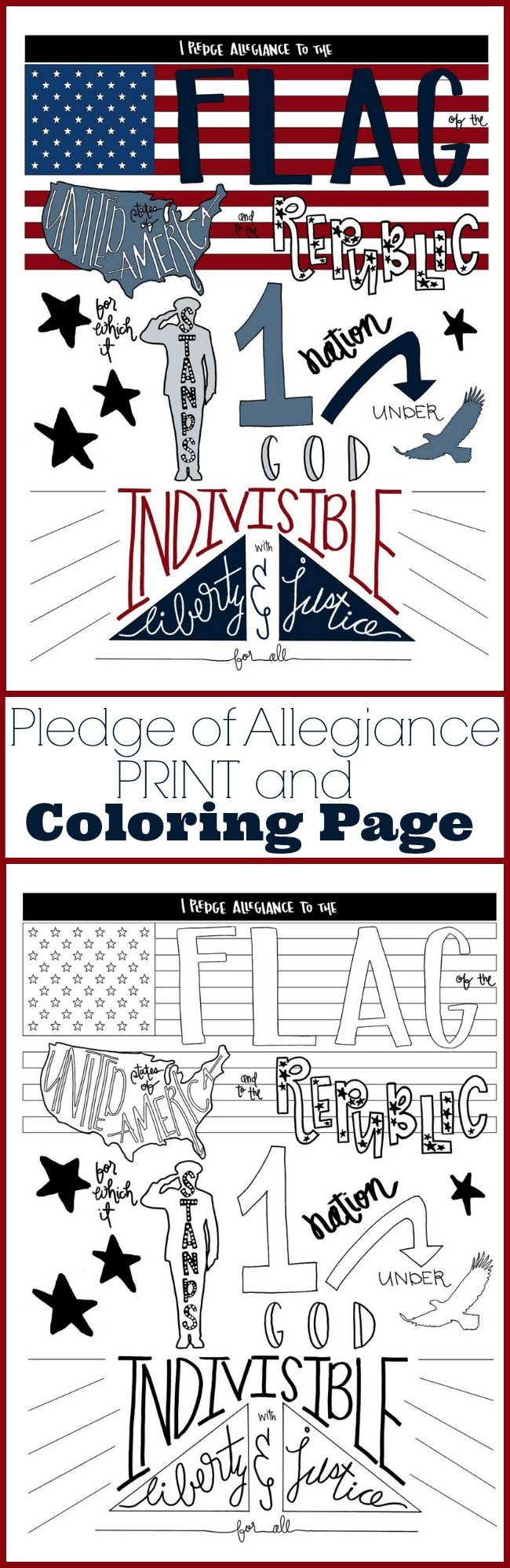 Pledge of Allegiance Print and Coloring page for 4th of July Patriotic craft ide...