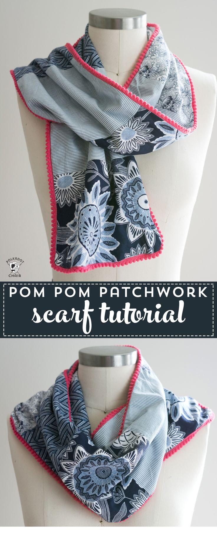 Pom Pom Patchwork Scarf Sewing tutorial - learn how to make a pom pom scarf - #s...