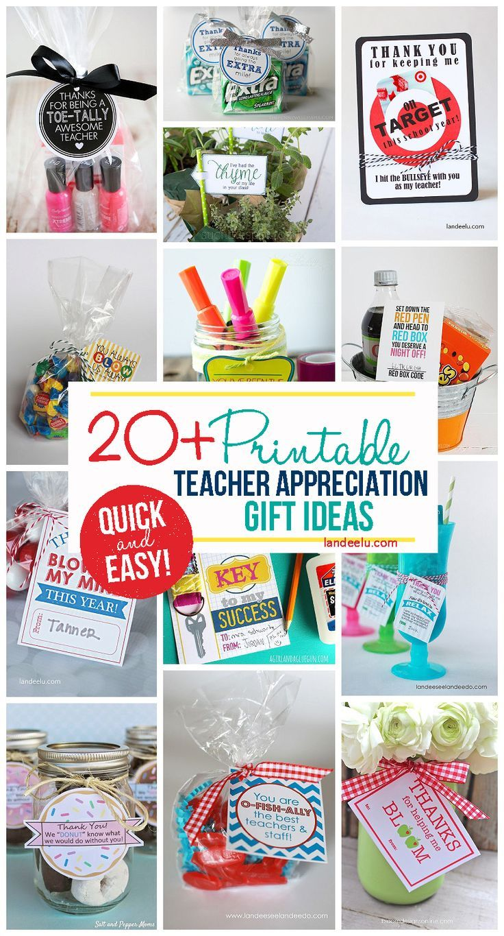 Quick and easy FREE printable little gifts for teachers!  Perfect for a DIY Teac...