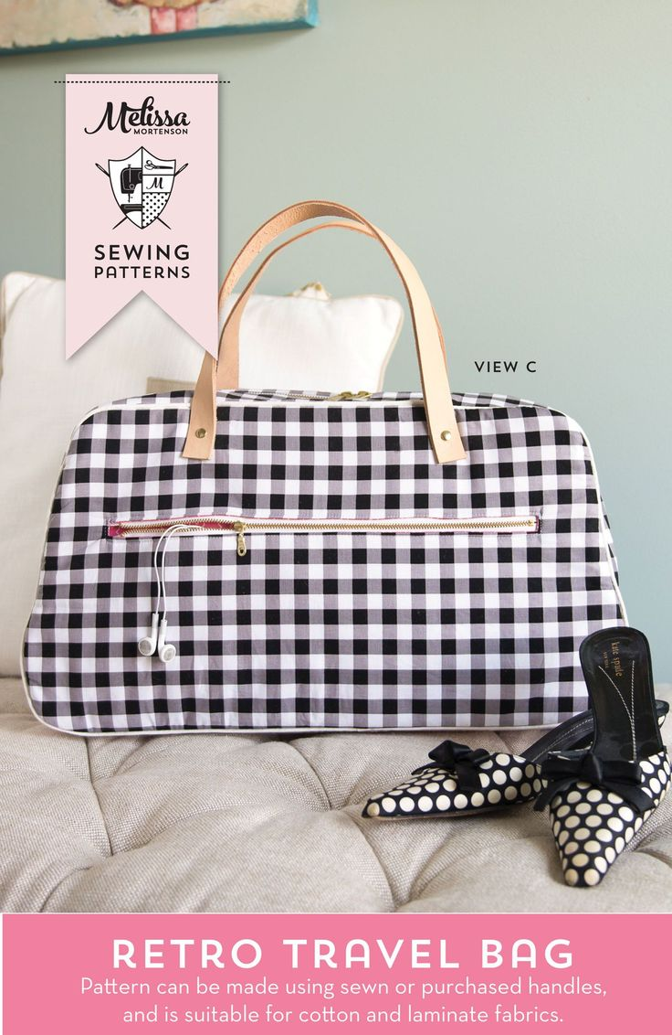 Retro Travel Bag Sewing Pattern by Melissa Mortenson; makes a cute weekend bag a...