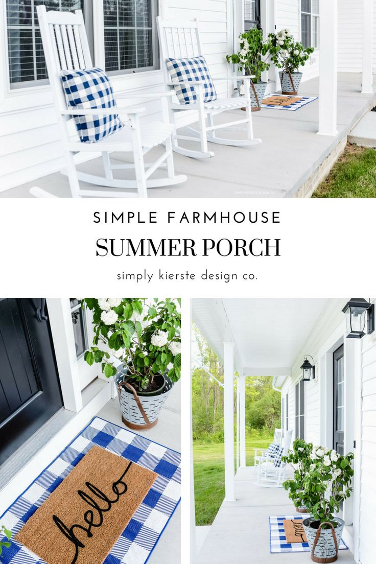 Simple Farmhouse Summer Porch -- Vintage Olive Buckets, Blue Gingham Pillows, He...