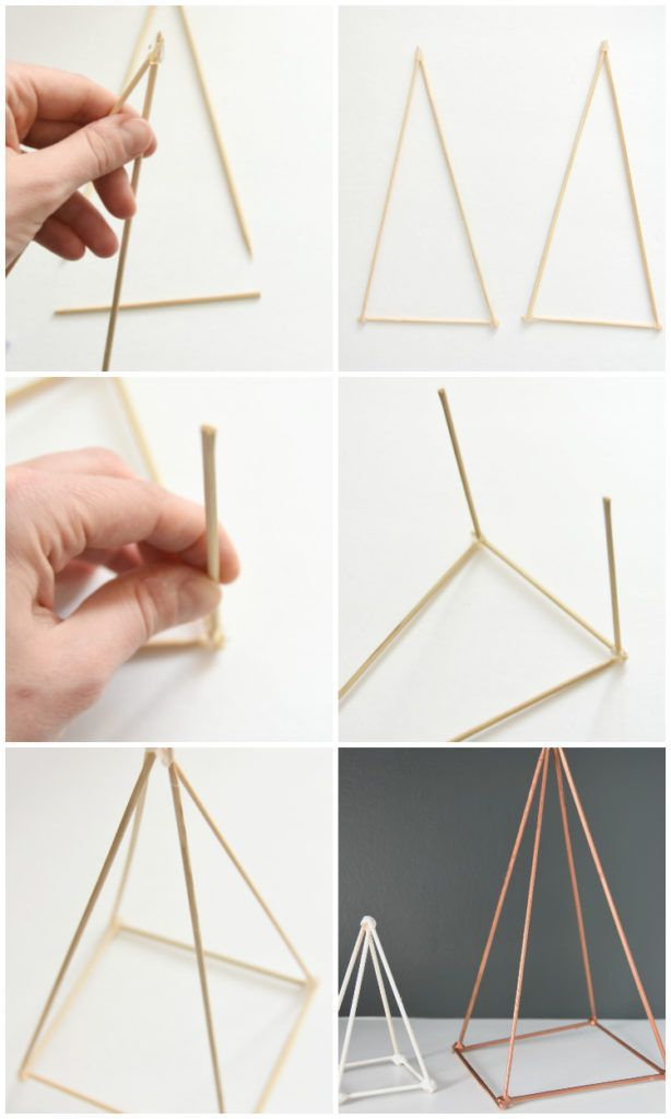 Trying to figure out how to style your shelves? Make these DIY geometric triangl...