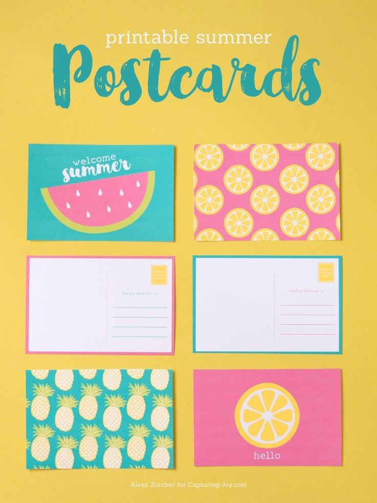 free summer postcards printable with bright and colorful watermelon, pineapple, ...