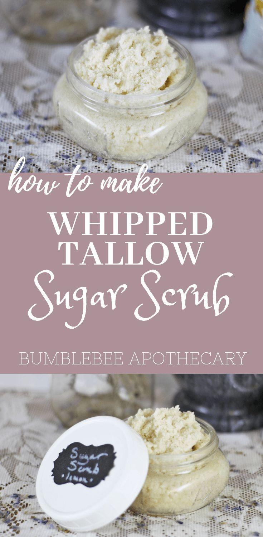How to make whipped tallow sugar scrub   homemade face exfoliator #sugarscrub #h...