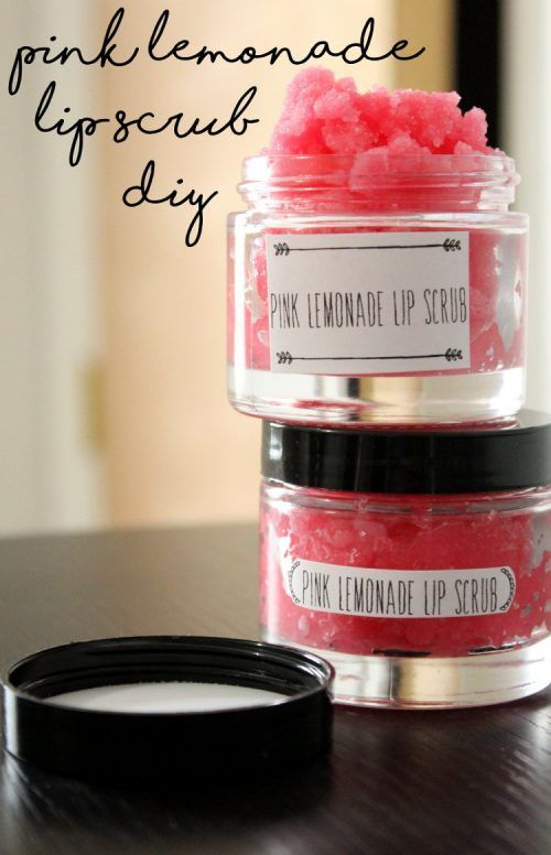 Pink Lemonade Lip Scrub Recipe for Summer Skin Care. DIY lip scrubs are the hott...