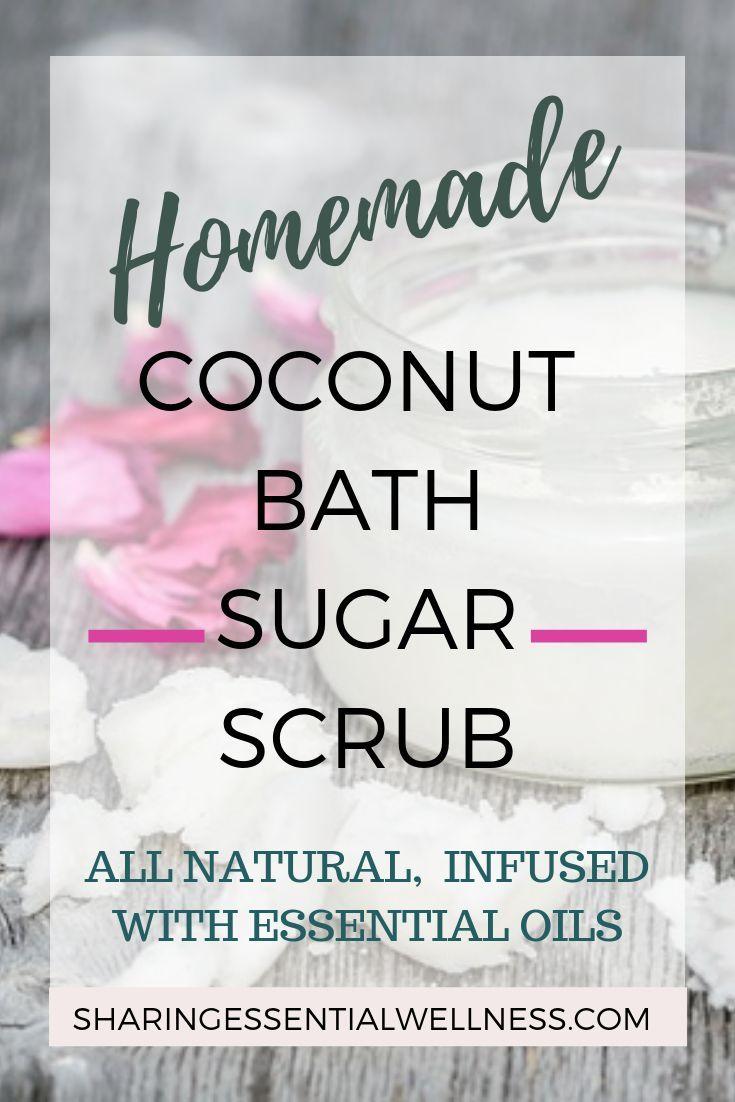 DIY, all natural coconut sugar bath scrub that will gently exfoliate your dry sk...
