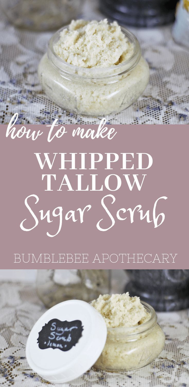 How to make whipped tallow sugar scrub | homemade face exfoliator #sugarscrub #h...