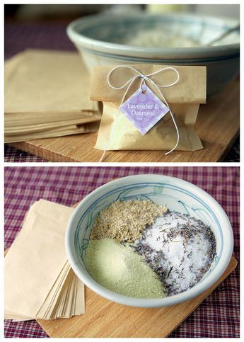 DIY Oatmeal Lavender Milk Tub Soak Recipe from My Own Ideas here. This recipe in...